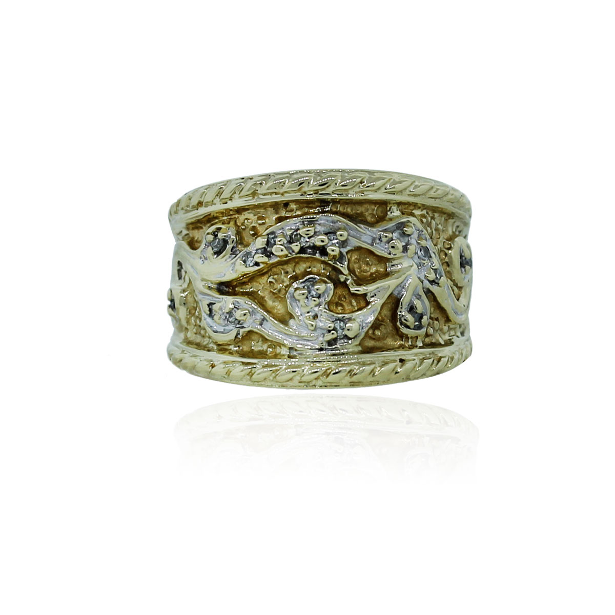10k White Amp Yellow Gold 05ctw Diamond Wide Ring