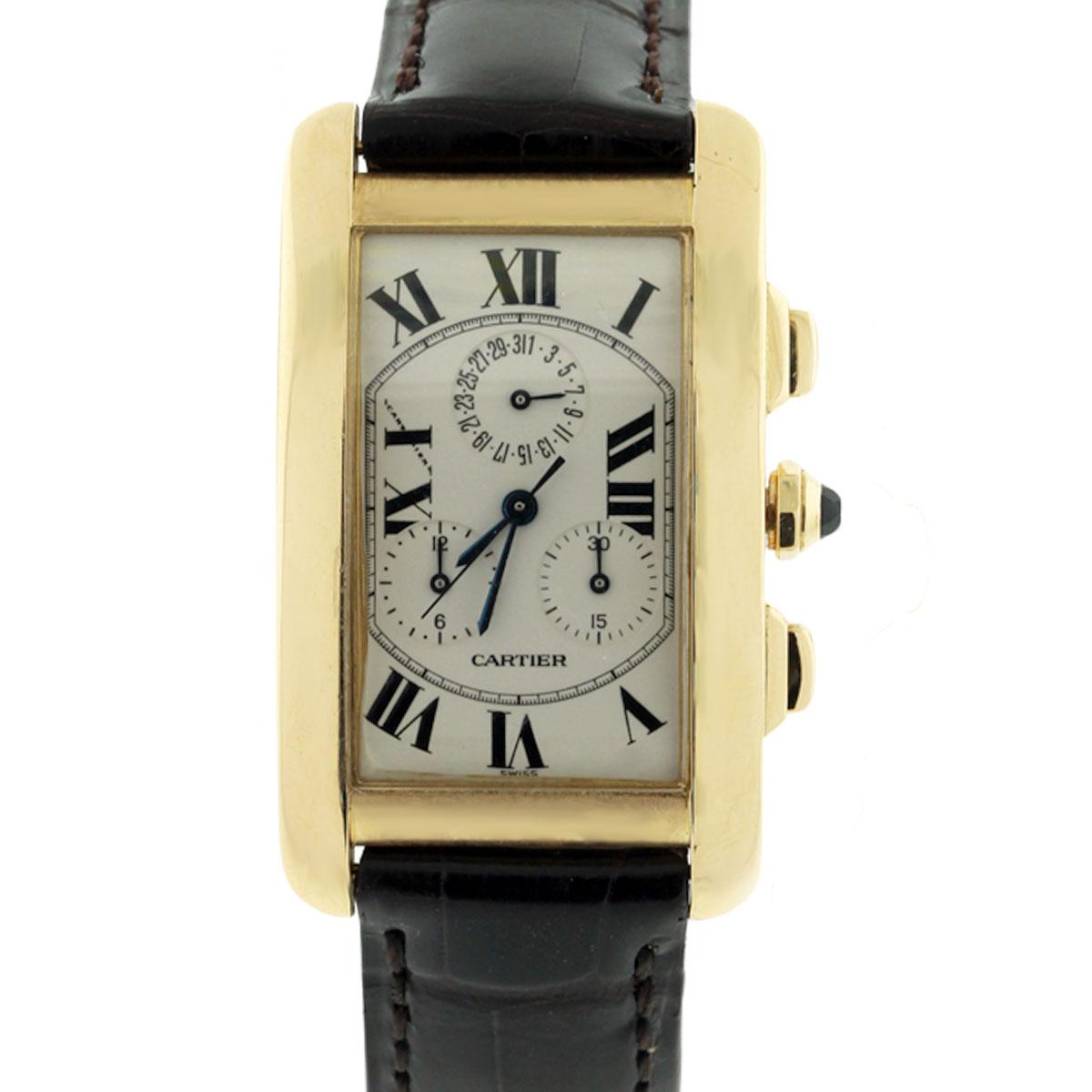 Cartier Tank Americaine 1750 Chronograph 18k Gold Watch
