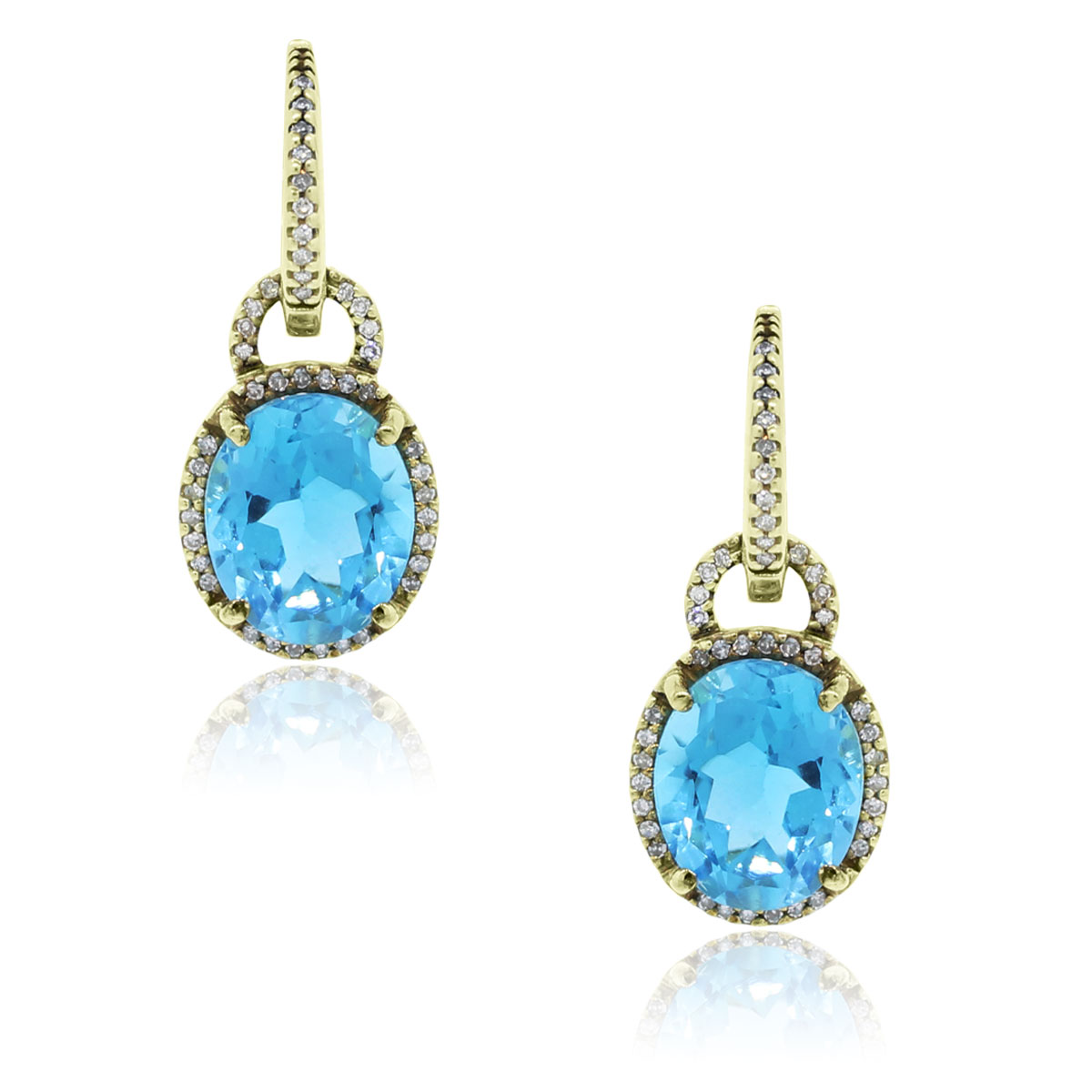 14k Yellow Gold Blue Topaz 50ctw Diamond Dangle Earrings