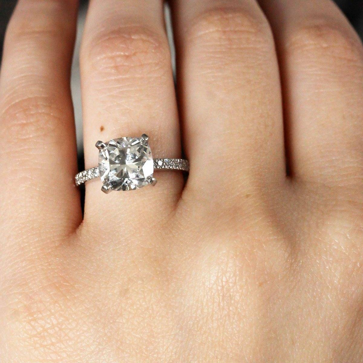 Cushion Cut Engagement Rings NO Halo Raymond Lee Jewelers