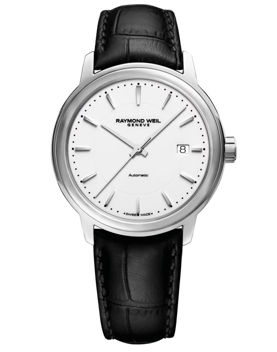 Maestro Men's White Dial Automatic Leather Watch