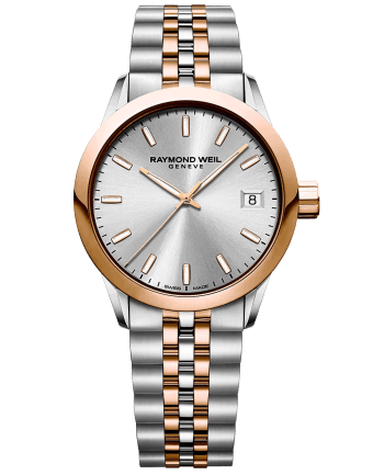 RAYMOND WEIL two-tone rose gold stainless steel silver dial toccata quartz watch