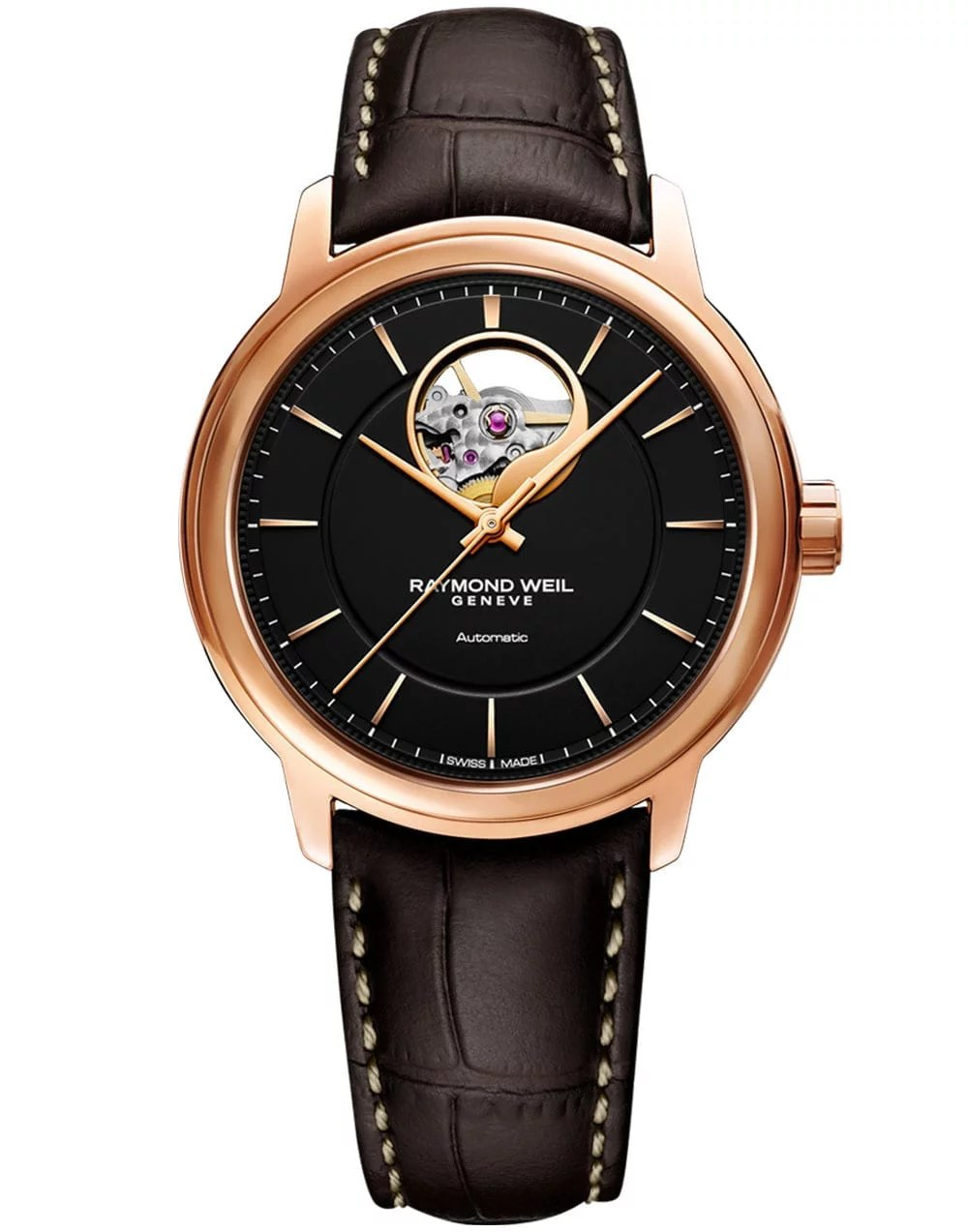 Maestro Men's Automatic Visible Balance Wheel Brown Leather Watch, 40mm