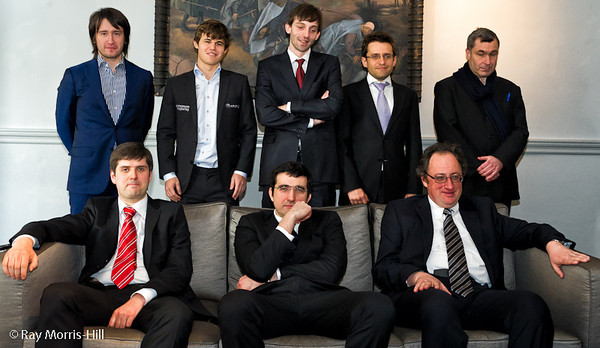 The Candidates: Standing from left to right, Teimour Radjabov, Magnus Carlsen, Alexander Grischuk, Levon Aronian, Vassily Ivanchuk, sitting from left to right,  Peter Svidler, Vladimir Kramnik and Boris Gelfand