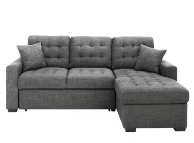 brynn 2 pc sofa chaise w pop up sleeper and storage