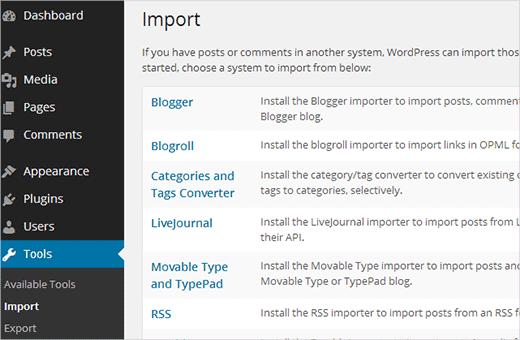 Blogger Import sang wordpress