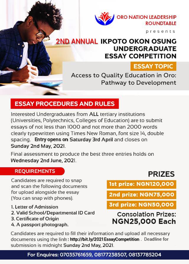 Ikpoto  Okon Osung Undergraduate  Essay Competition |Oro Leadership Roundtable