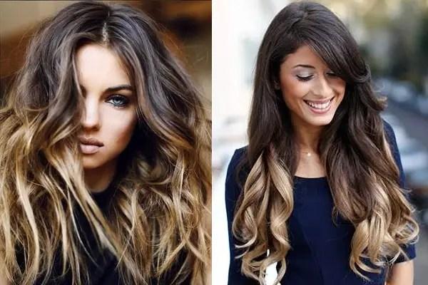 Reflejos en pelo oscuro largo