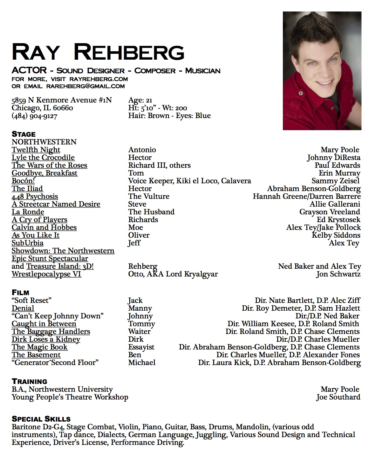 actors resume example for beginners sample acting resume template
