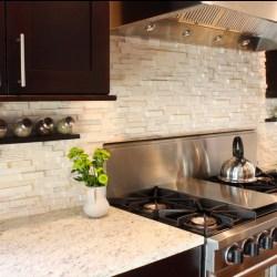 Black Wooden Kitchen Cabinet Designs and White Stone Kitchen Backsplash Designs Photos