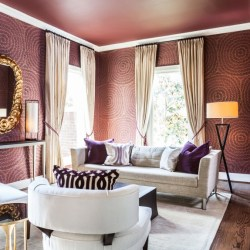 Circle Pattern Paint Ideas for Living Room with Best Purple Paint Colors for Living Rooms