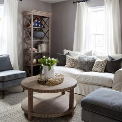 Cheap Grey Modern Furniture Sets with Cool Wooden Round Coffee Tables