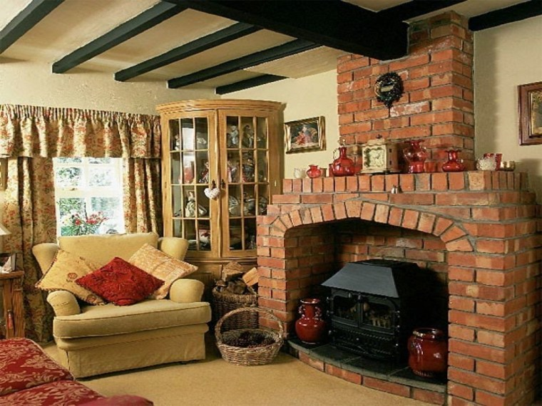 country cottage style living rooms furniture with bricks fireplace