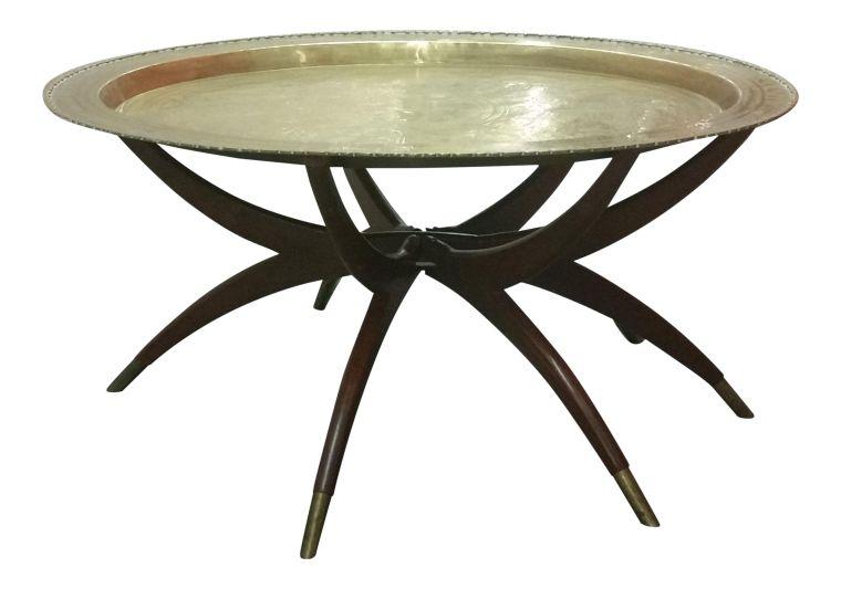 white round aluminium moroccan style coffee table