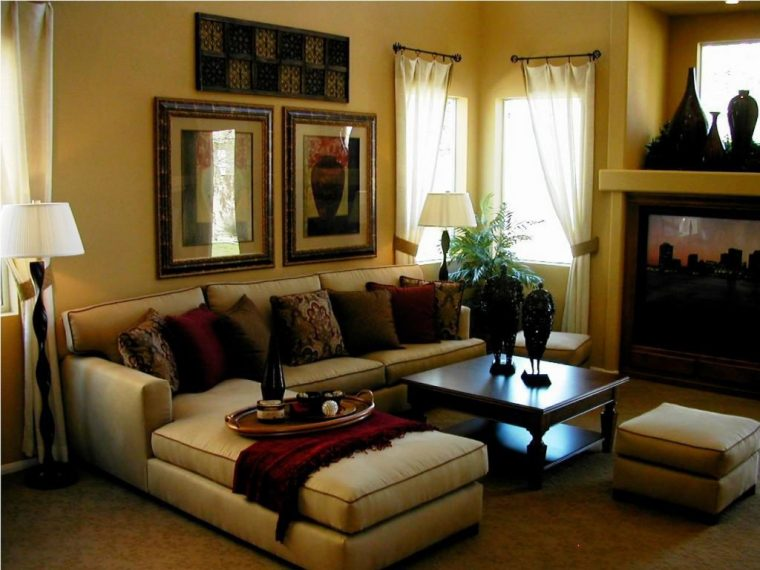 family room ideas-family-room-furniture-with-wooden-floor-and-carpet-and-black-table-and-curtain-and-white-lamp-and-window
