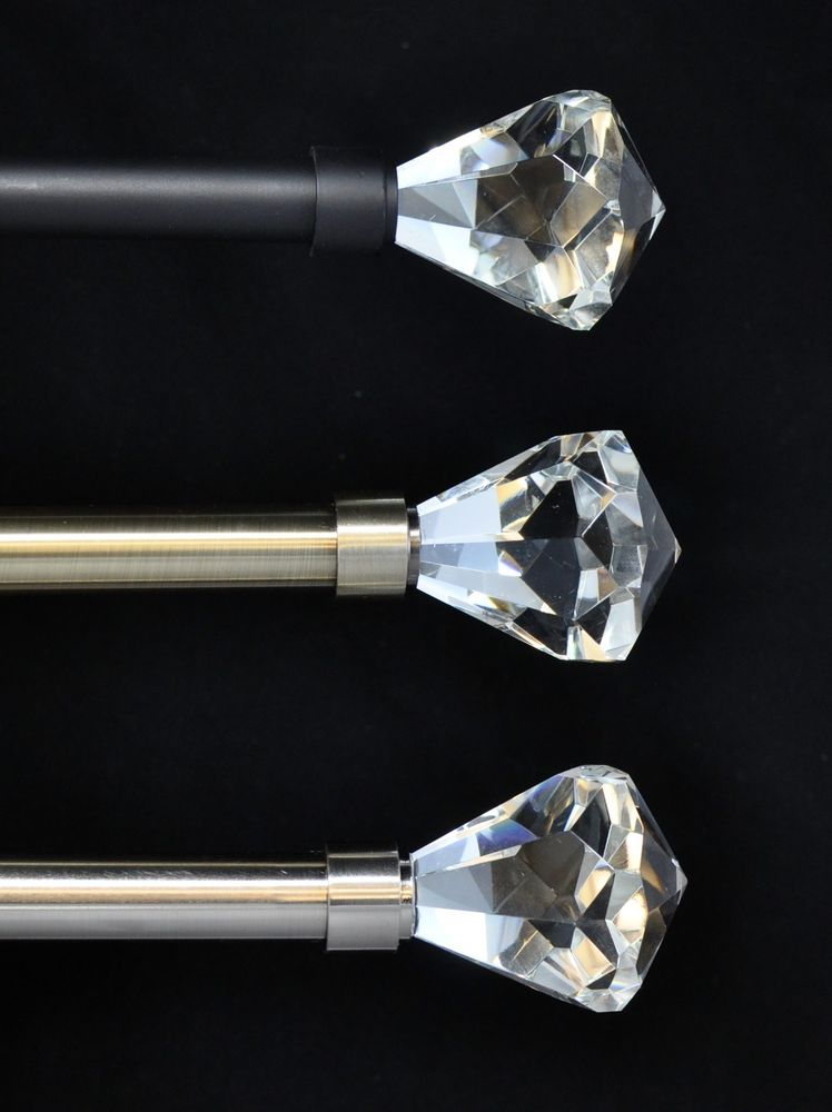 easy diy curtain rods with crystal ends