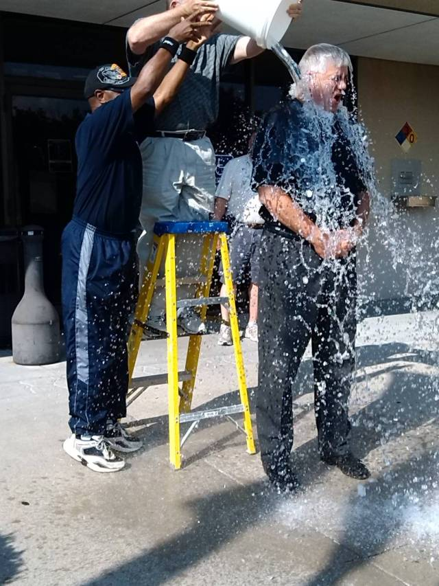 Mayor Carson Ross, Blue Springs and Mayor Randy Rhodes, Lees Summit provided the ice and water for Mayor Bower's ALS Challenge.