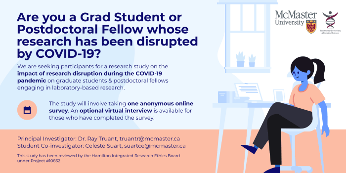 Are you a graduate student of postdoctoral fellow whose research has been disrupted by COVID-19? We are seeking participants for a research study of the impact of research disruption during the COVID-19 pandemic on graduate students and postdoctoral fellows engaging in laboratory based research. The study will involve taking one anonymous online survey. An optional virtual interview is available for those who complete the survey. Principal Investigator: Dr. Ray Truant truantr@mcmaster.ca, Student Co-investigator: Celeste Suart suartce@mcmaster.ca This study has been reviewed by the Hamilton Integrated Research Ethics Board under Project 10832.