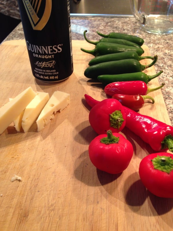 Jalapeno, red jalapeno, hot portugal and hot cherry. Oka cheese and a Guinness for lunch!