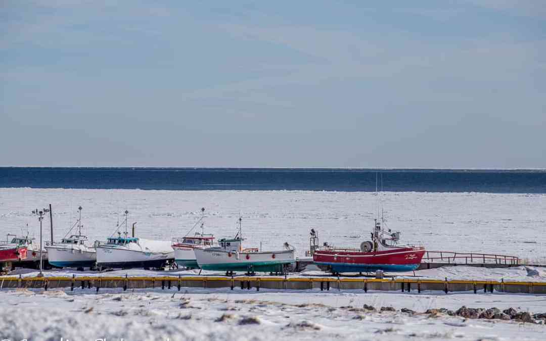 Fishing boats in dry dock waiting for spring. Gaspé.