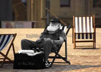 old man in deckchair