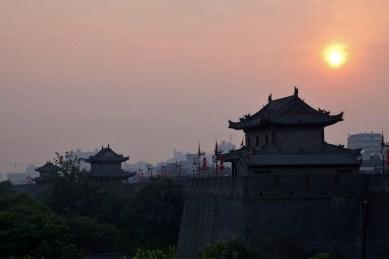Xian wall sunset - China
