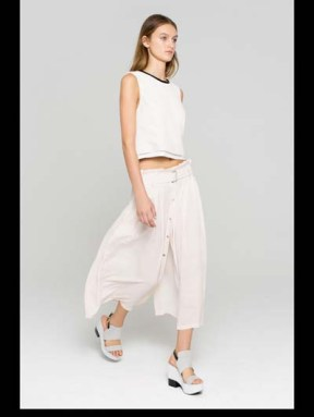 ALC fashion week spring summer 2014 style.com white ready to wear outfit pants and shirt walking model