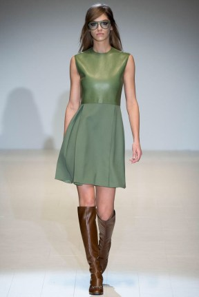 green dress with leather Earth colors ready to wear