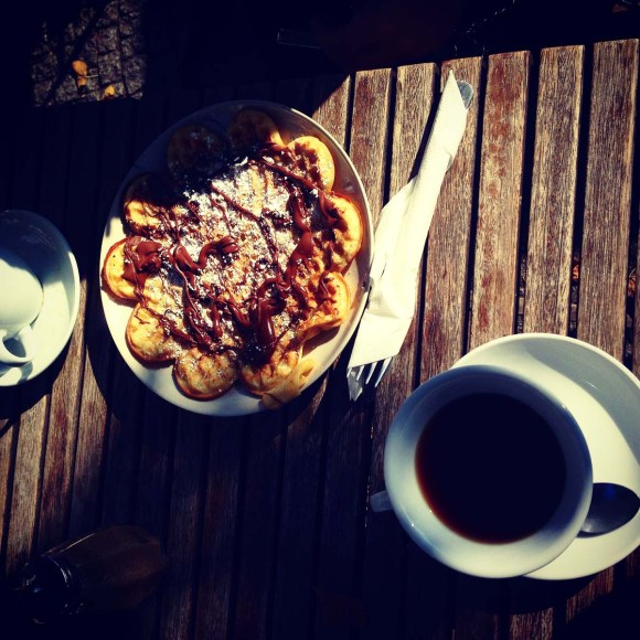 Chocolate pancakes and coffee
