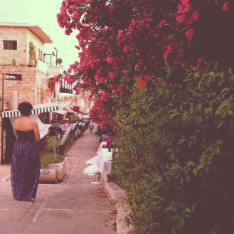 Night life as walking between the old houses and streets of byblos Lebanon