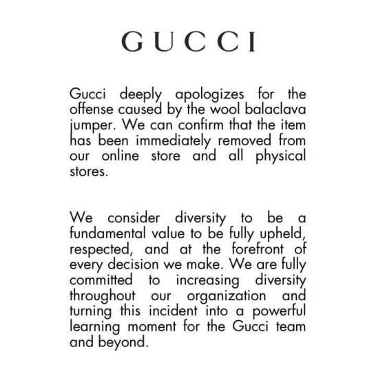 Gucci apologies