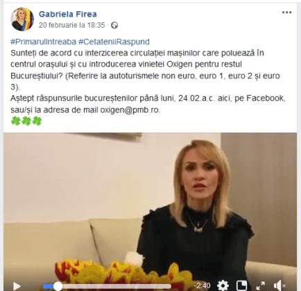 ScreenShot 20200222002945 300x290 - Primarul Gabriela Firea face referendum pentru taxa Oxigen ... pe Facebook