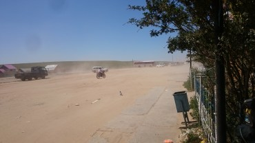The dust storm caused by a rare tailwind