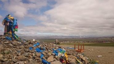 An ovoo overlooking the outskirts of Ulaanbataar