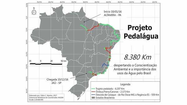 Mapa do projeto Pedalágua