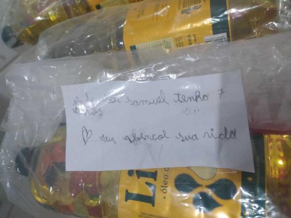 óleo cesta básica com carta escrita mão