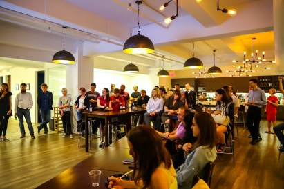 Investors and Razomers listen to pitches at Smartling. Photo Credit: Nestor Muzychka