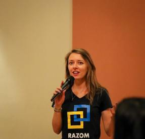 Mariya Soroka, Razom Board Member, gave an update on the Razom Culture initiative that showcases contemporary talent from Ukraine (with high quality and high 'hipness' factors).