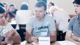 Taras Galkovskyi spoke with volunteers about Project Oko during the breakout workshop sessions.