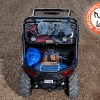 Camping gear in top tray of Polaris RZR 900 Sherpa RBO Rack