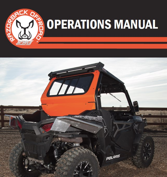 Operations manual cover for Rear Sliding Window