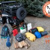 Camping gear laid out for Polaris RZR 1000 Expedition Rack