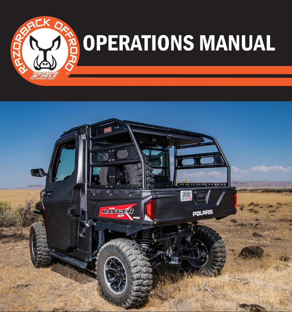 Operations manual cover for the Polaris Ranger Utility Rack