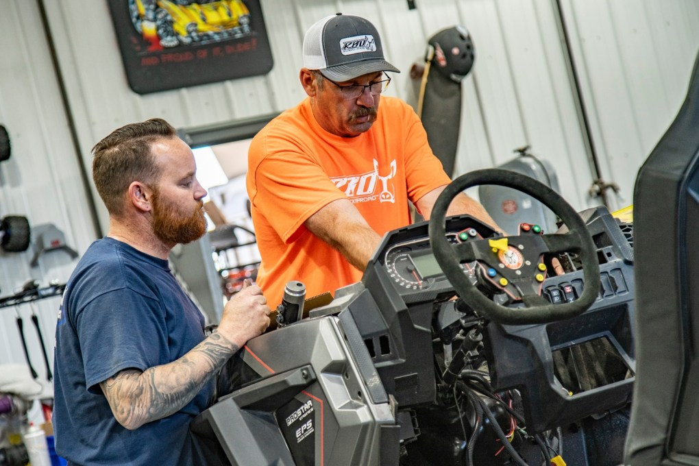 RBO employees working on the Polaris RZR XP Turbo S custom featured vehicle build for SEMA