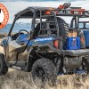 Polaris General Spare Tire Mount Shown on rack with spare tire and full bed