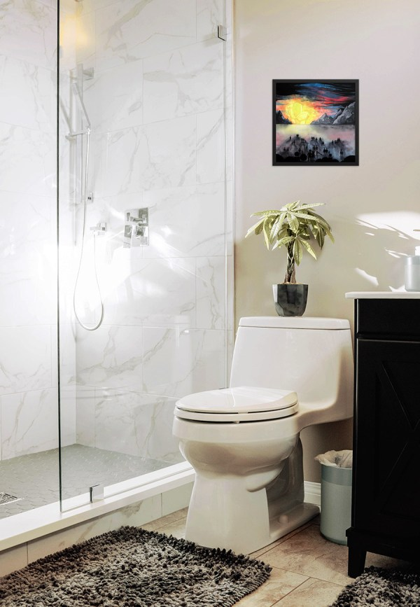 Call Of Nature in a bathroom mockup