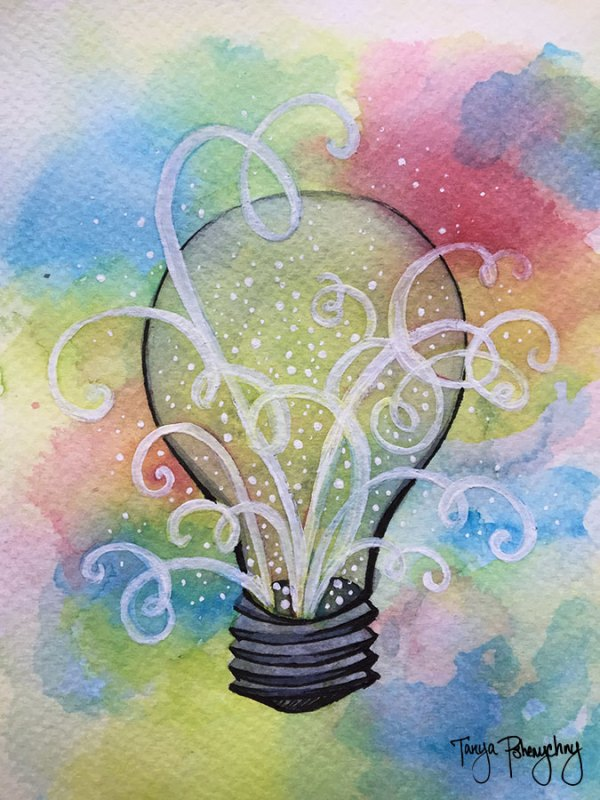 Swirly Lightbulb painting
