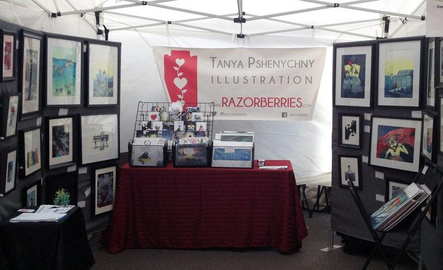 Tanya Pshenychny paintings at an art fair