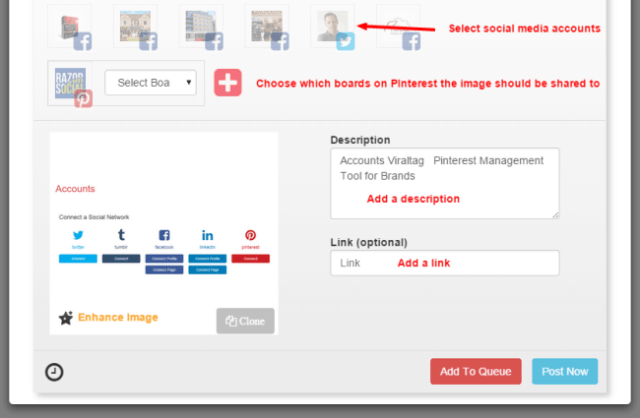 Queue or post Viraltag Pinterest Management Tool for Brands