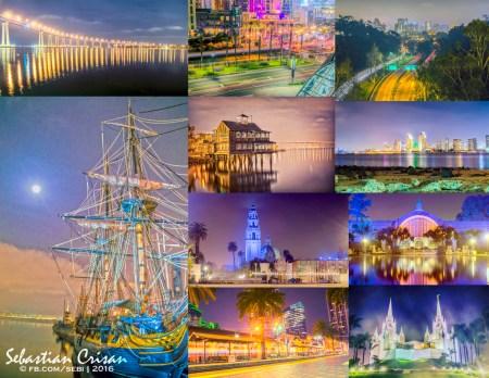 Coronado Bridge; San Diego Convention Center; vedere a orasului de pe Cabrillo Bridge; Maritime Museum; Seaport Village; Centennial Park; Balboa Park; Botanical Building; statia de tren Santa Fe; Templul mormonilor din San Diego.